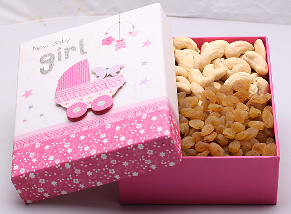 Baby Shower Dry Fruit Box - Girl - Gifts (Good News)